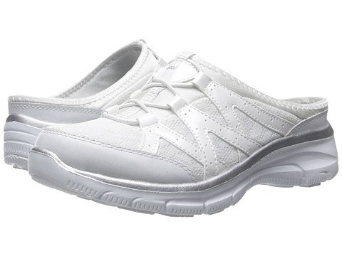 (スケッチャーズ) SKECHERS レディーススニーカー?ウォーキングシューズ?靴 Easy Going - Repute White/Silver 7.5 24.5cm M(WIDE FIT) [並行輸入品]