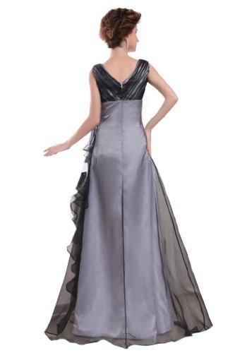 Orifashion para vestido de noche mujer a forma de Negro y Plata Schwarz Und Silber