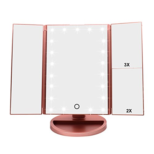 WEILY Tri-Fold Lighted Vanity Makeup Mirror with 21 LED Lights, Touch Screen and 3X/2X/1X Magnification Mirror, 2 Power Supply Modes Tabletop Cosmetic Mirror, Magnifying Travel Mirror (Rose - Express Travel Valentine