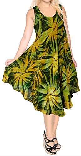 LA LEELA Rayon Tie Dye Tropical Skirt Halter Swimsuit Green 656 Plus Size