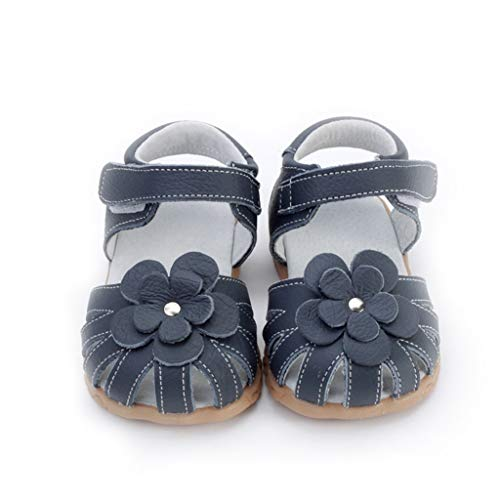 (WENSY Children's Girls Casual Leather Summer Baotou Slip Breathable Breathable Sandals Flowers Casual Shoes Beach Shoes(Black,21))