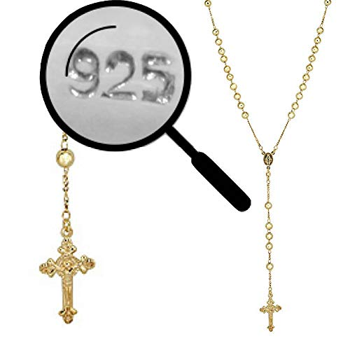 Harlembling Rosary Beads Necklace Chain - 14k Gold Over Solid 925 Sterling Silver - 24