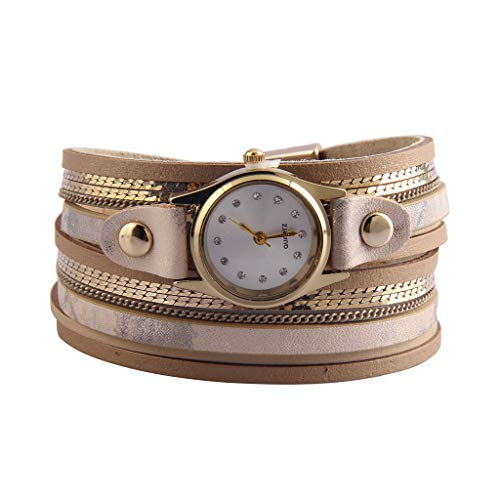 Jenia Women's Leather Watch Wrap Around Bracelets Casual Quartz Wrist Watch Multi Layer Leather Bracelet with Magnetic Clasp Ladies Gold Plated Watches for Wife, Ladies, Girls Gifts from Jenia