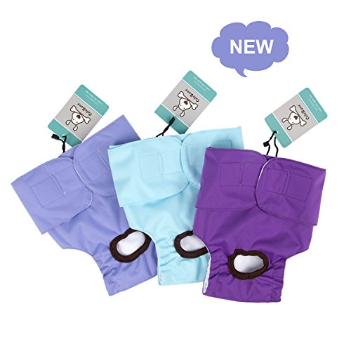 - CuteBone Female Dog Diapers Washable Small for Doggie in Heat, 3 Pack D11S