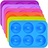 6 Pack of Silicone Donut Baking Pan, Wobe 6-Cavity Non-Stick Donuts Mold, BPA Free Donut Mold, Silicone Baking Molds for Donuts, Doughnuts Mold, Dishwasher, Oven, Microwave, Freezer Safe Multicolor
