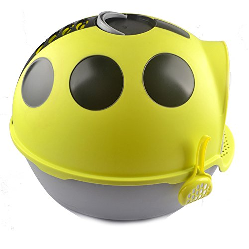 choler fully enclosed self cleaning cat litter box cartoon coccinella septempunctata shaped yellow arena kitty litter box