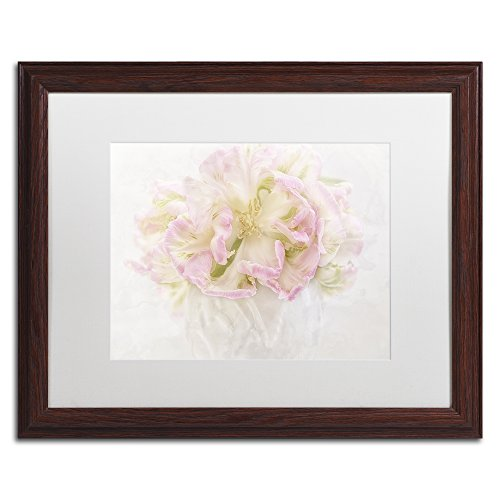 Pink Parrot Tulips Bouquet by Cora Niele, White Matte, Wood Frame 16x20-Inch ()