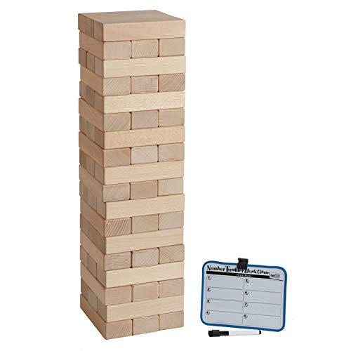 ECR4Kids Number Tumbler Giant Tumble Tower, Large Wood Stacking Block Game with Storage Bag and Dry-Erase Board for Bonus Rules, Just Right 20'' Tall (54-Piece Set) by ECR4Kids