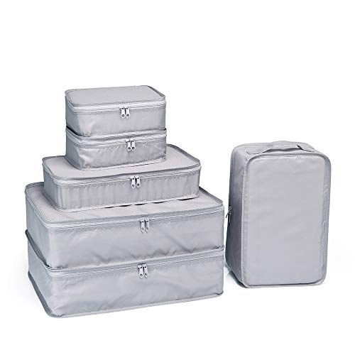 JJ POWER Travel Packing Cubes, Luggage Organizers with Shoe Bag (Grey) ()