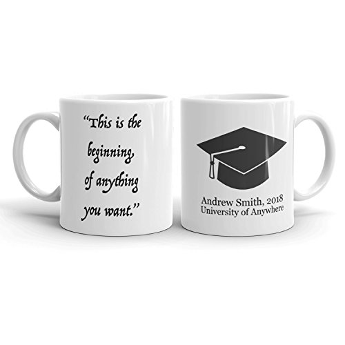 Famous Quote Graduation Cap Coffee Mug | FREE SHIPPING Personalized Name + Any Quote | Inspiring Gift for Student in High School College University Graduate Medical Dental MBA MD PhD ()