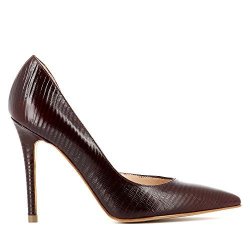 Evita Semi Bordeaux Gaufré Femme Shoes Alina Cuir ouverts Escarpins I8CrqZIU