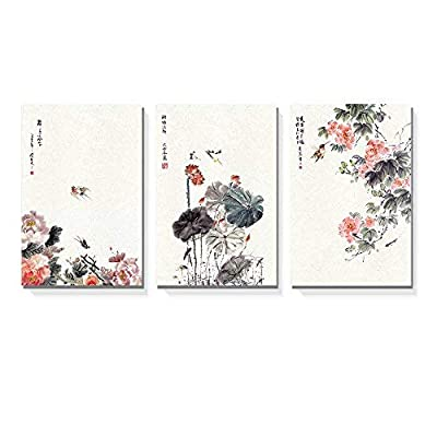 3 Panel Canvas Wall Art - Chinese Ink Painting of Flowers and Birds - Giclee Print Gallery Wrap Modern Home Art Ready to Hang - 16