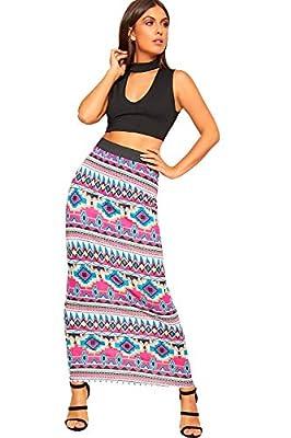 WearAll Women's Multi Print Elasticated High Waist Stretch Maxi Long Skirt New