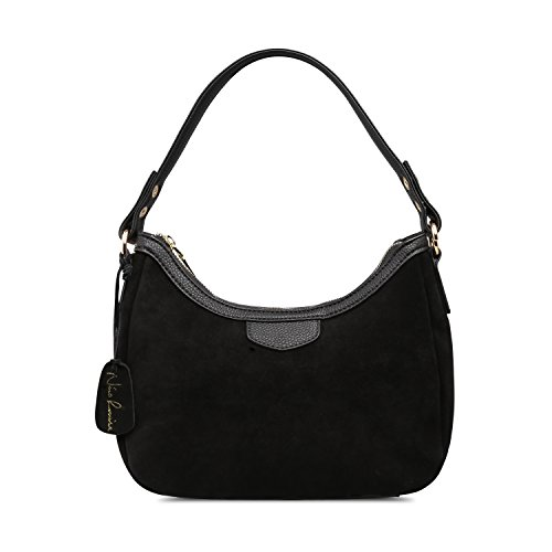 - Women Real Suede Leather Small Shoulder Bag Brand Female Leisure Crossbody Handbag … (Black)