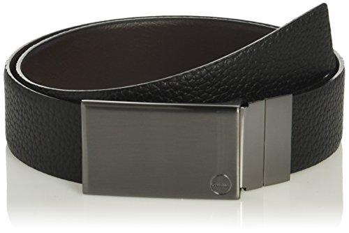 Calvin Klein Men's 35mm Reversible Pebble Leather With Plaque Buckle, black/Blkgun Metal, 30