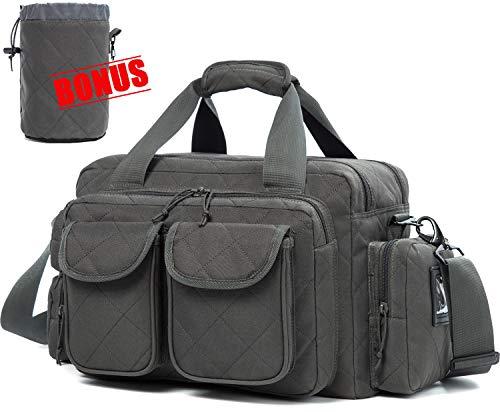 SUNLAND Gun Range Bag,Tactical Shooting Range Bag with Lockable Zipper and Plenty of Room for Handguns ()