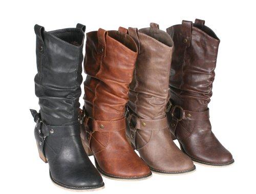 Refresh Women Wild-02 Western Style Cowboy (Womens Brown Mid Calf Boots)