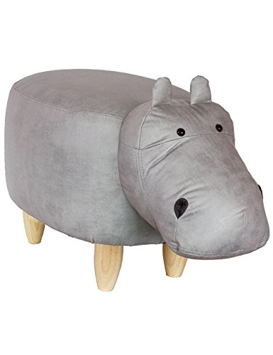 HAOSOON Animal ottoman Series Ottoman Footrest Stool with Vivid Adorable Animal-Like Features Hippo grey