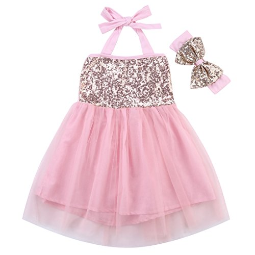 Seventies Fancy Dress (Newborn Baby Toddler Girls Princess Party Wedding Gown Sequin Tutu Fancy Dress With Hairband (70(0-6months), Pink))