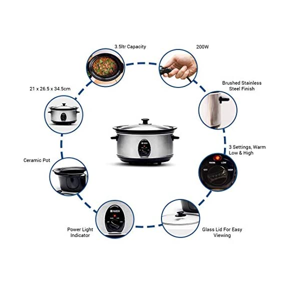 Sabichi Haden 3.5L Slow Cooker/Electric Multi-Function Cooker/Rice Cooker 7