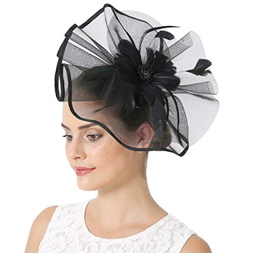 Sinamay Feather Fascinators Womens Pillbox Flower Derby Hat for Cocktail Ball Wedding Church Tea Party -