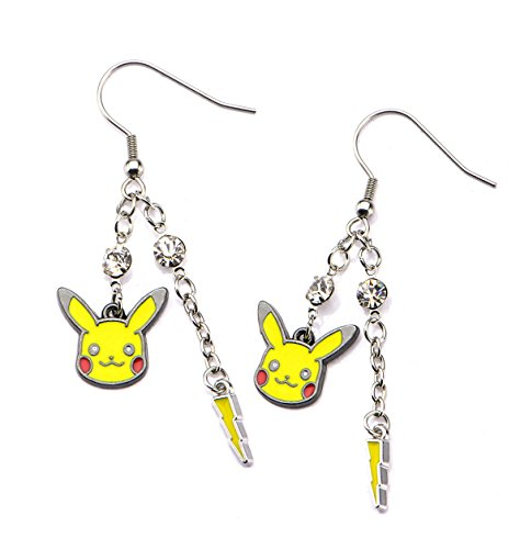 Pokemon Earrings (Pikachu and Lightning Bolt Dangle Earrings)