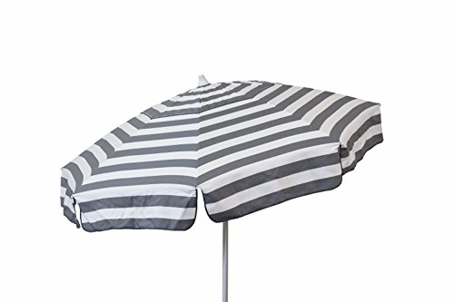 Price comparison product image DestinationGear 1400 Italian Patio Umbrella Acrylic Stripes Steel Grey and White
