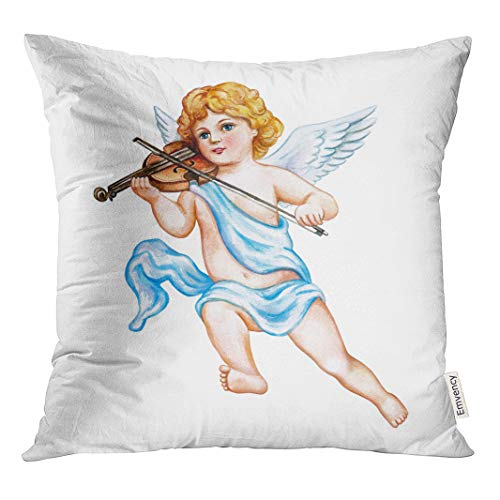 - Semtomn Decorative Throw Pillow Cover Square 18x18 Inches Pillowcase Cupid Angel Violin Watercolor Vintage Clipart Valentine Day Drawing Pillow Case Home Decor for Bedroom Couch Sofa