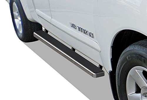 APS iBoard (Silver 4 inches) Running Boards Nerf Bars Side Steps Step Rails Compatible with 2004-2019 Nissan Titan King Cab Pickup 4-Door