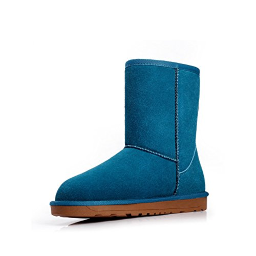 Women Winter tube Mid Warm Blue Boots Girl Optimal dqWPzd