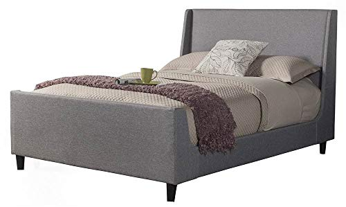 Alpine Furniture 1094CK Upholstered Bed, California King, Gray California King Upholstered Bed
