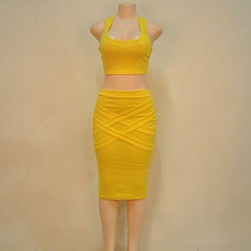 ALAIX - Atractivo conjunto de 2 piezas para mujer falda, top y falda por debajo de la rodilla Amarillo
