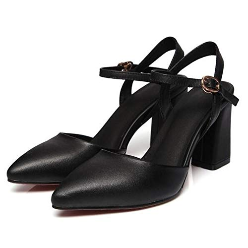 ZHZNVX Zapatos de Mujer Suede Spring Comfort Heels Chunky Heel Black/Pink Black