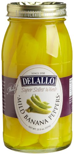 Banana Mild Peppers (DeLallo Whole Mild Banana Peppers, 25.5-Ounce Jars (Pack of 6))