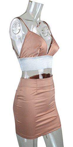 Aro Top Pink Women's Crop Skirt Dress Piece Straps Sparkle Spaghetti Midi 2 And Lora 4w4q6XOx5r