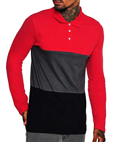 (Musen Men Long Sleeve Polo Shirts Casual Cotton Modern Fit Color Block Rugby Polo Tshirts Red-Grey-Black XXL)