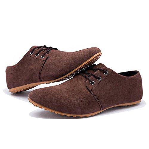 Hombre de de Británico Cordones Vestir Baja Estilo de Zapatos Negocios Con Planos Zapatilla Comodidad de Mocasines para Cuero Minetom Boda Marrón Ew1qOAA
