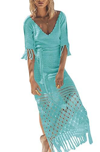FaroDor Women's Sexy Hot Hollow Out Beach Dress Crochet Knitted Beach Cover Up