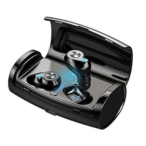 Vagalbox Audífonos Bluetooth Inalámbricos, Mini Auriculares Inalámbricos Deportivos in Ear Bluetooth 5.0 Manos Libres con Micrófono con Caja de Carga Inteligente para iPhone y Otros Smart Phones-Neg