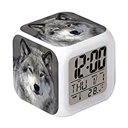 Cointone Led Alarm Clock Wolf Design Creative Desk Table Clock Glowing Electronic Colorful Digital Alarm Clock for Unisex Adults Kids Toy Birthday Present