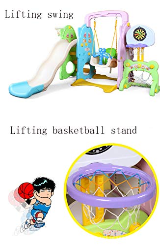 Slide Swing Set Toddler Climber with Music and Basketball Hoop Playset for Both Indoors Backyard,Green by Thole (Image #4)