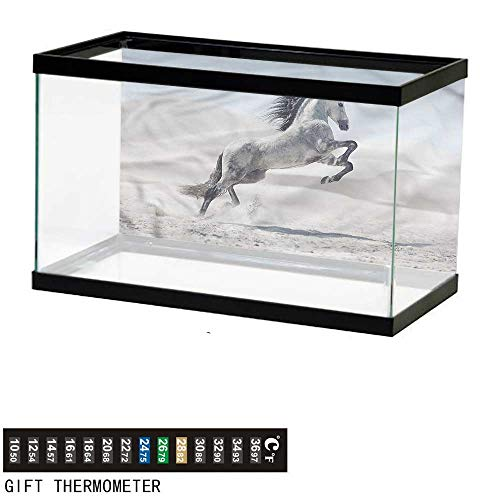 bybyhome Fish Tank Backdrop Horses,Majestic Wild Animals Power,Aquarium Background,24