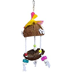 Prevue Pet Products Tropical Teasers Tiki Hut Bird Toy, Multicolor