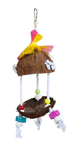 Coconut Bird - Prevue Pet Products Tropical Teasers Tiki Hut Bird Toy, Multicolor