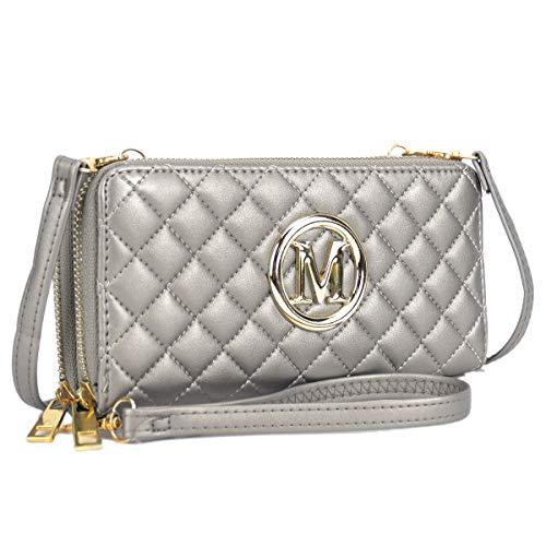 (Functional Lightweight Crossbody bags for Women, Women's Fashion Zip Around Wallet Clutch Card Case Holder Organizer (1050-Pewter))