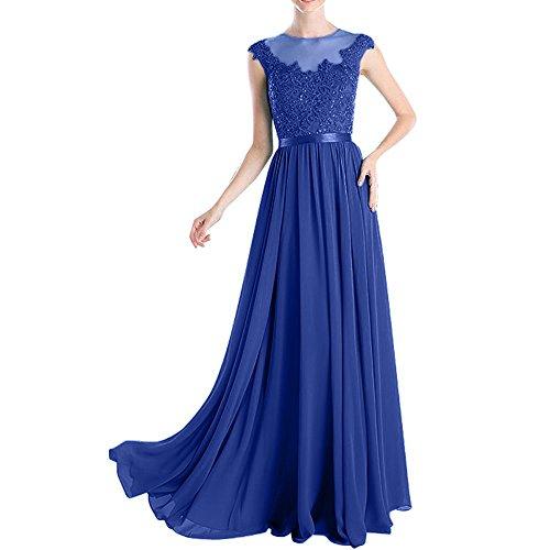 Abschlussballkleider Blau Chiffon Braut Brautmutterkleider mia Spitze Lang Royal La Fesltichkleider Festlich Abendkleider Partykleider qTzp7