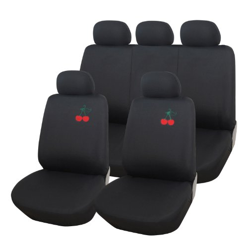 (Adeco 9-Piece Car Vehicle Protective Seat Covers, Universal Fit, Black with Cherry Embroidery)
