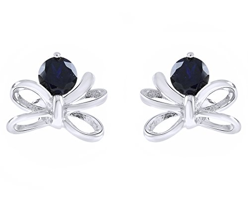 wishrocks Round Cut Simulated Blue Sapphire Dragonfly Earrings in Sterling (Dragonfly Sapphire Earrings)