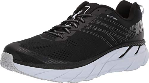 HOKA ONE ONE Mens Clifton 6 Black/White Running Shoe - 12