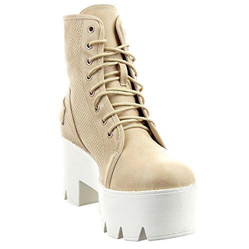 Sopily - Scarpe da Moda Stivaletti - Scarponcini Low boots donna Perforato fibbia Tacco zeppa piattaforma 8 CM - Beige